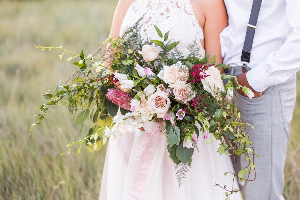 lush greenery burgundy bridal bouquet