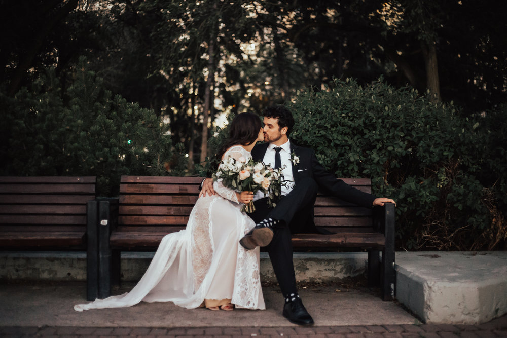 Victoria park bench wedding