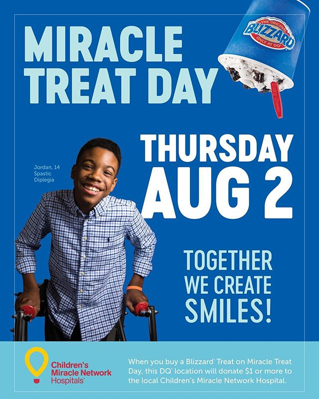 BLIZZARD ALERT! ❄️❄️❄️ August 2nd is Miracle Treat Day! Purchase a blizzard treat at your local @dairyqueen on Thursday, August 2nd to help support @vumcchildren ❄️❄️❄️ Don't forget to use the hashtag #MiracleTreatDay to share this 'cool' event!