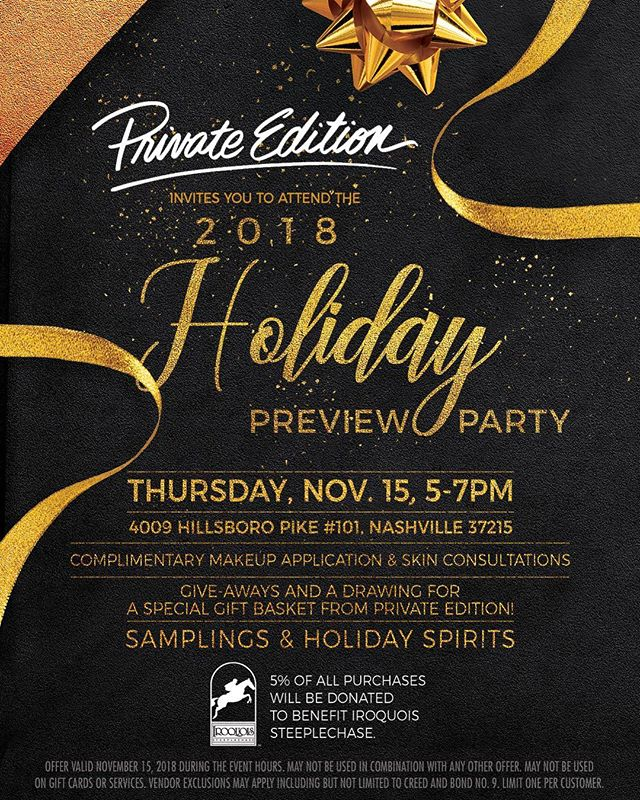 📆 Mark your calendars! The 2018 Holiday Preview Party with @privateedition is on November 15th. Be sure to join us for some exciting holiday fun! Tag someone who you'd love to bring ❤️ #TNSteeplechase