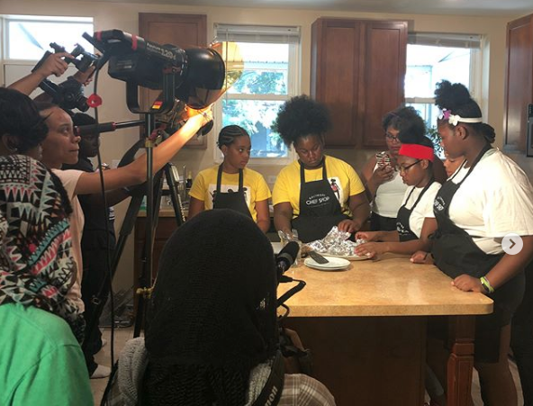 The Video Team cohort documenting Black Girls Cook, as part of their summer MediaWorks training. This blog entry was written by Kalaia Petteway.