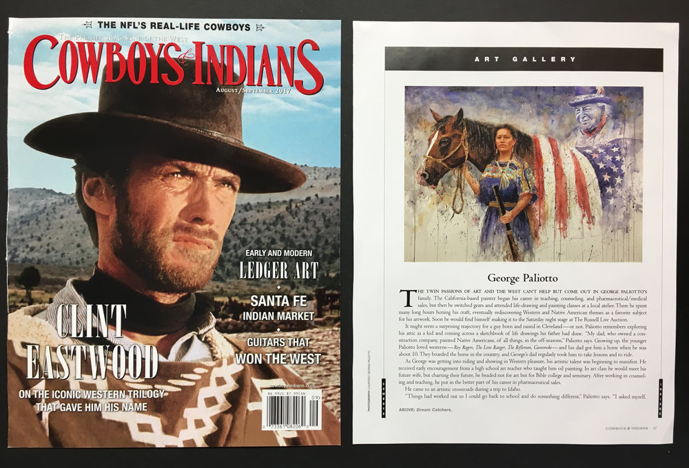George Paliotto featured in the August 2017 Issue of COWBOYS AND INDIANS magazine