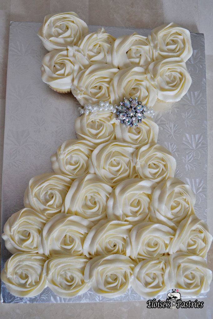 bridal shower cupcake dress cake with broach