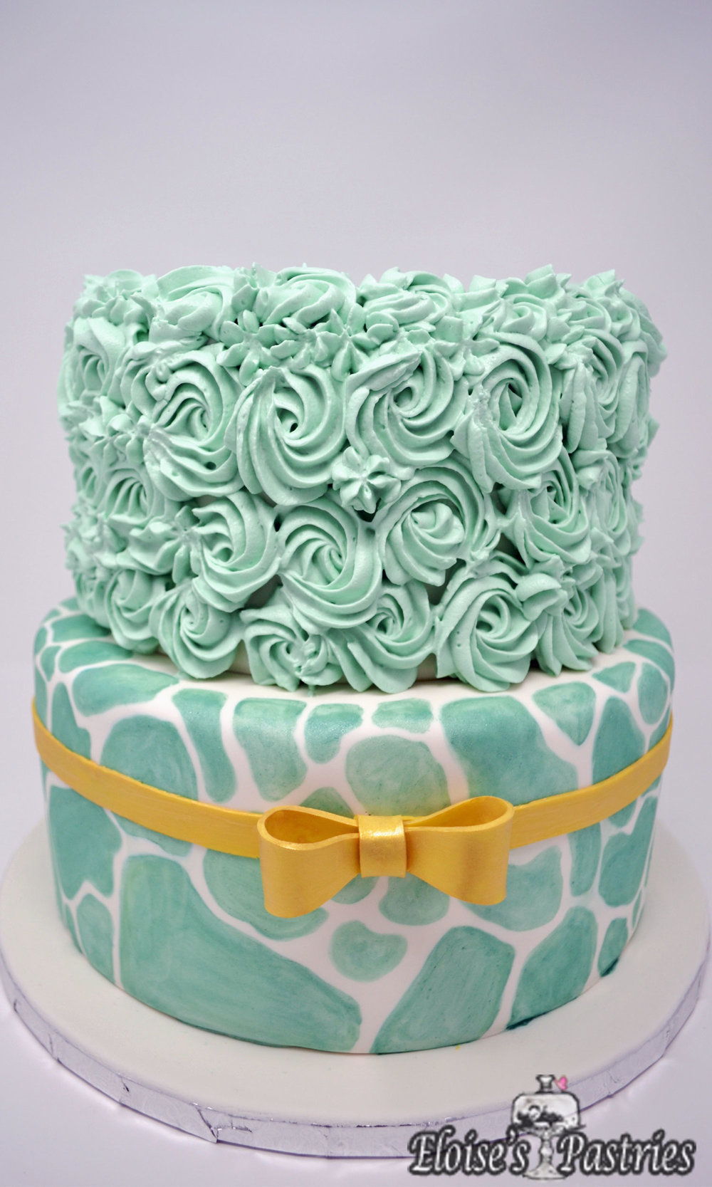 Fabulous Teal Gold Birthday Cake