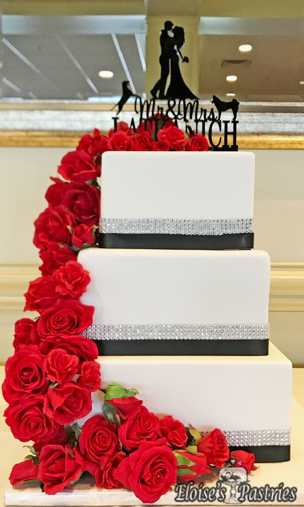 Exquisite Cascading Rose Cake