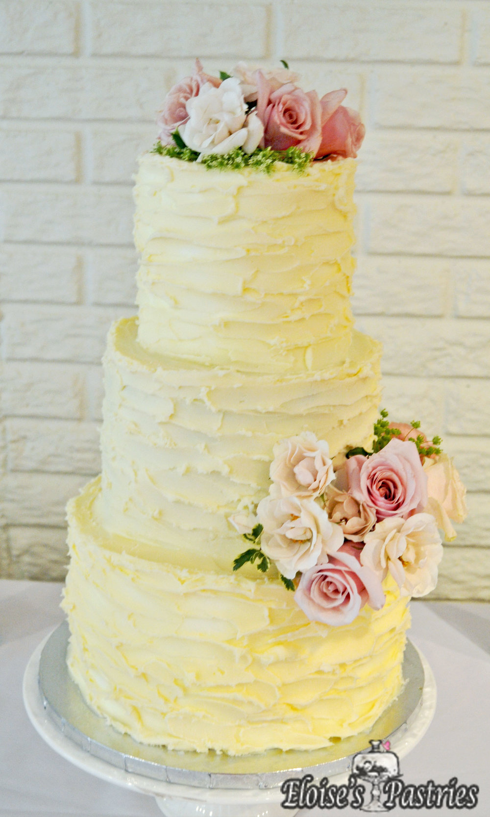 Yellow Textured Floral Cake