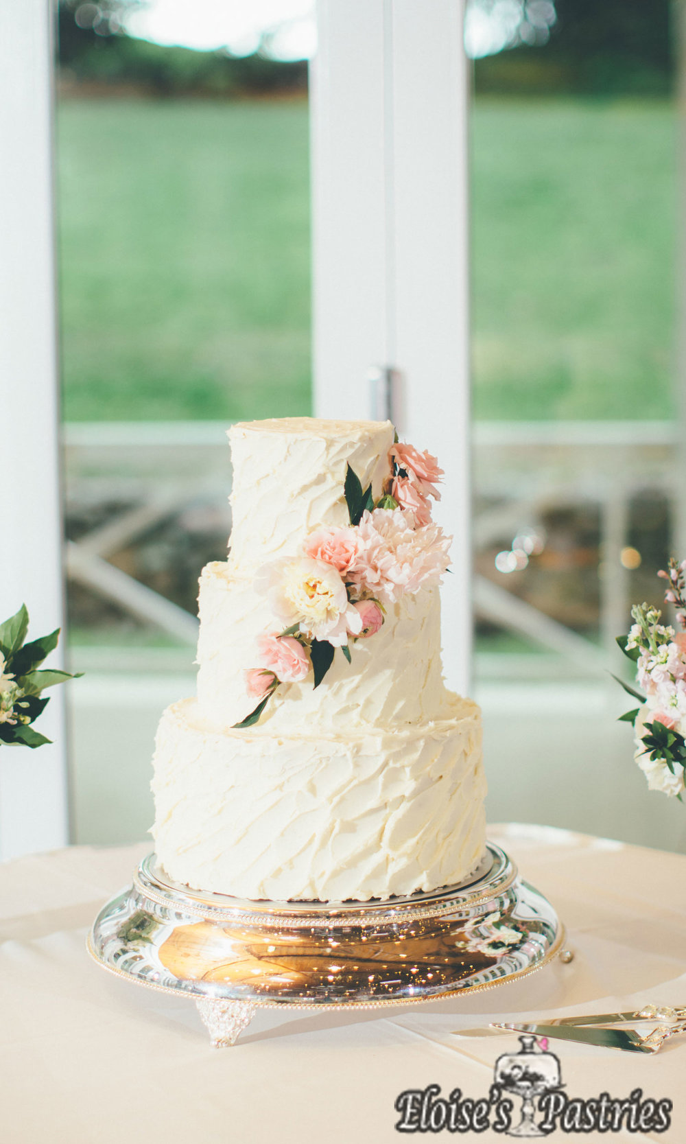 Textured White Floral Cake