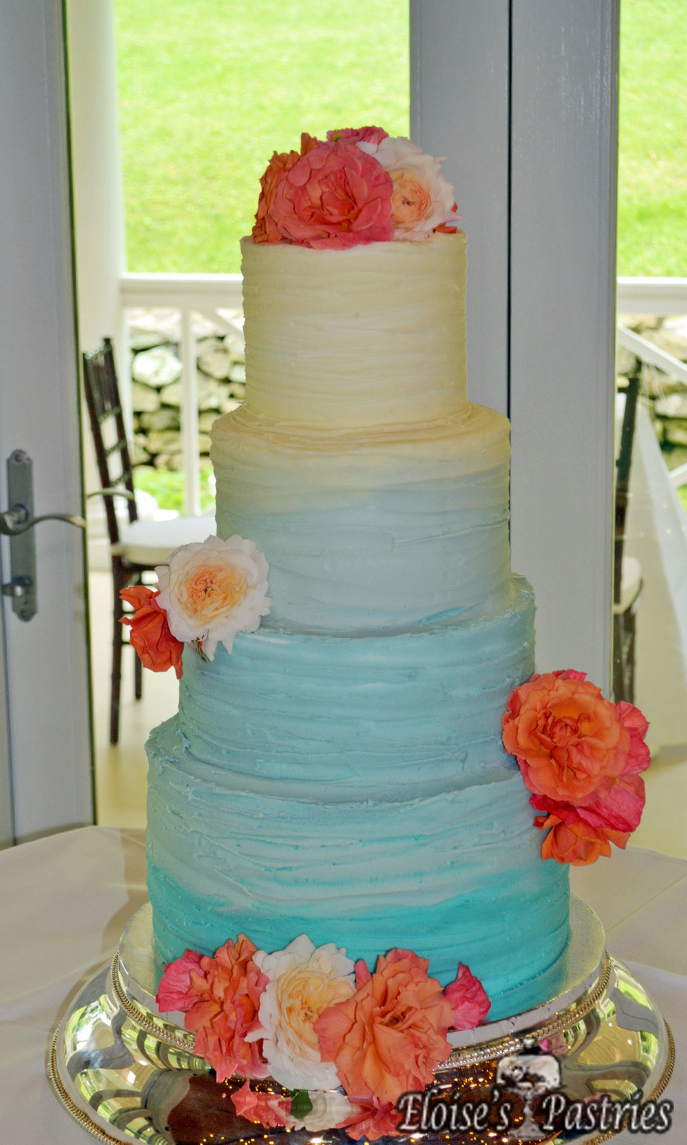 Two-Tone Floral Cake