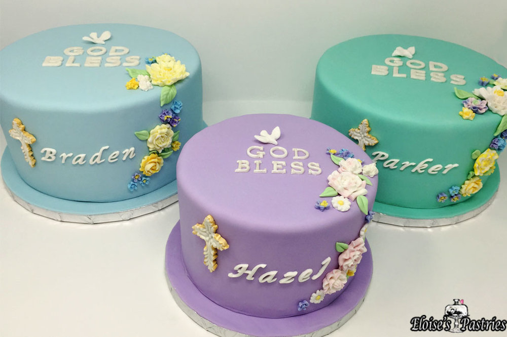 """God Bless"" Baptism Cake"