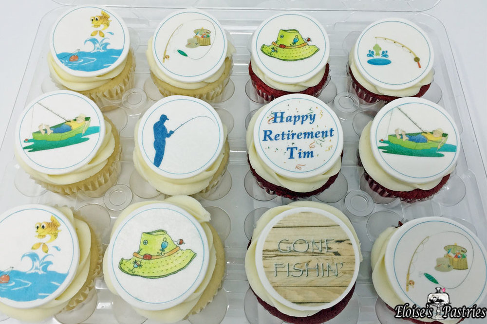Fishing Edible Image Cupcakes