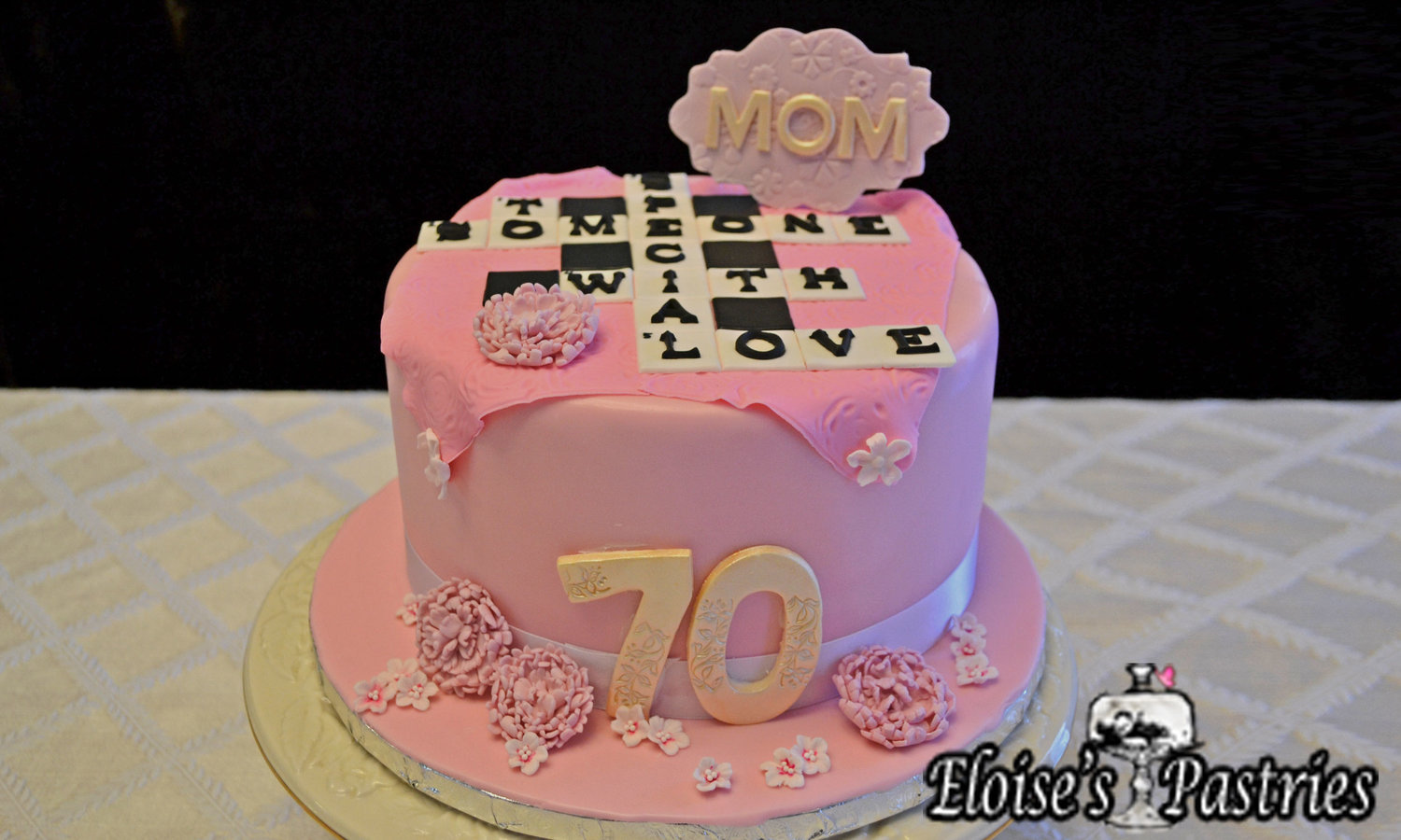 70th Fabulous Pink Birthday Cake