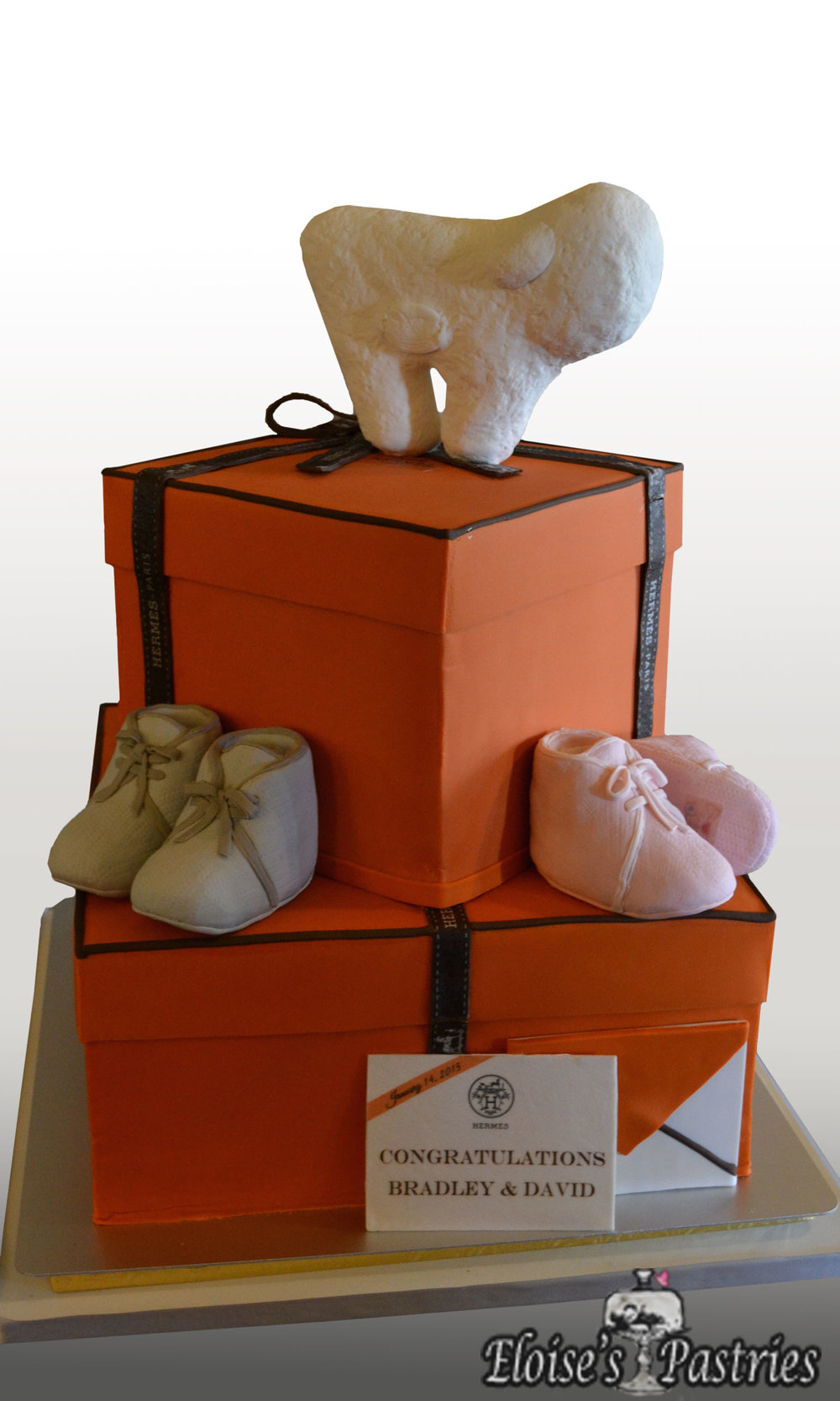 Hermes/Baby Boots Baby Shower Cake