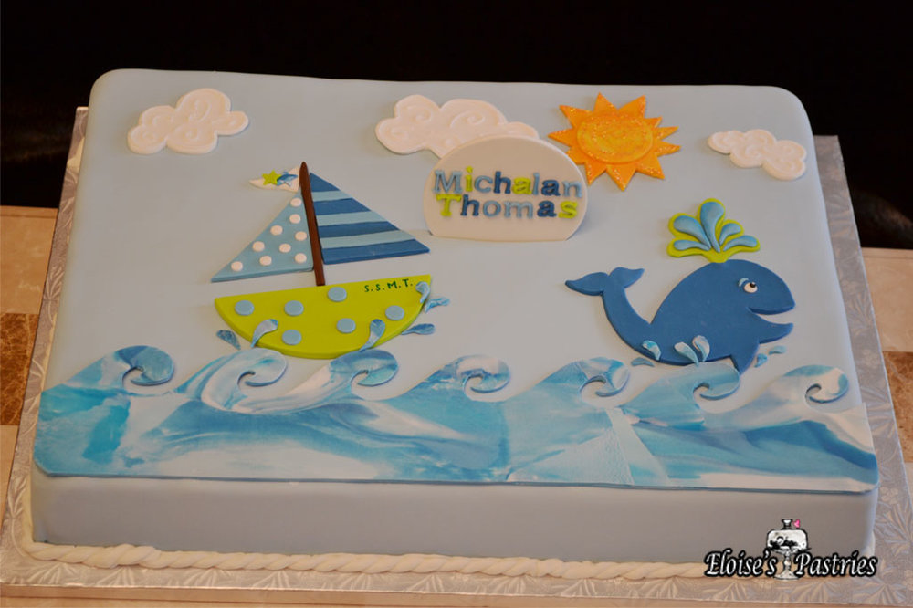 Sailboat Themed Baby Shower Cake