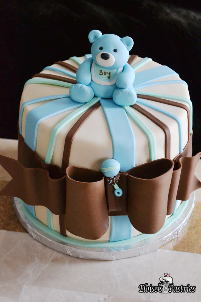 Brown & Blue Teddy Bear Baby Shower Cake