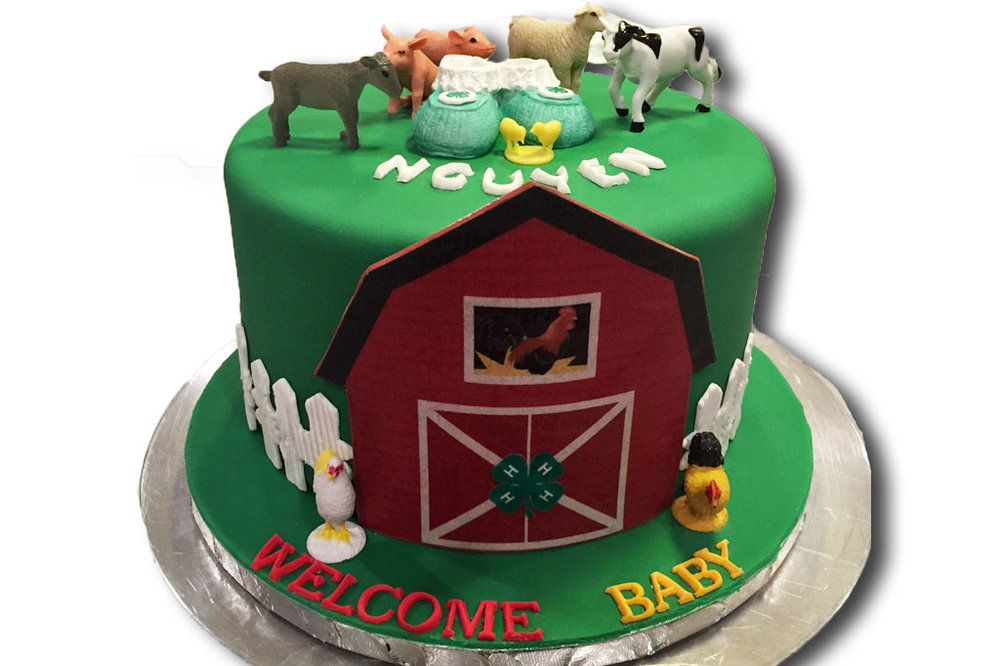 Barnyard Animals Baby Shower Cake