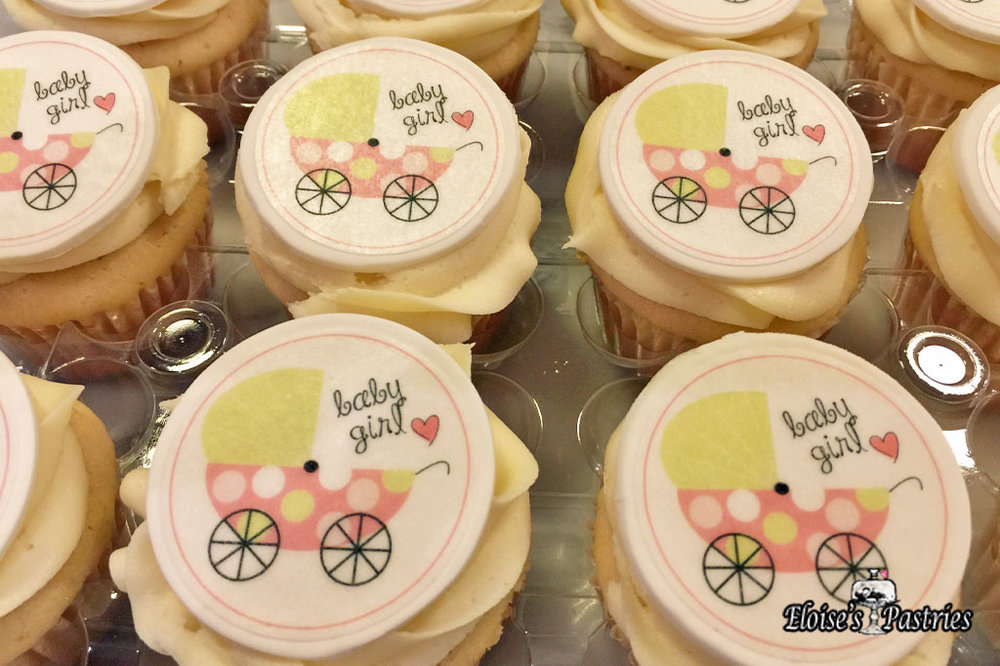 Baby Carriage (Edible Image) Baby Shower Cupcakes