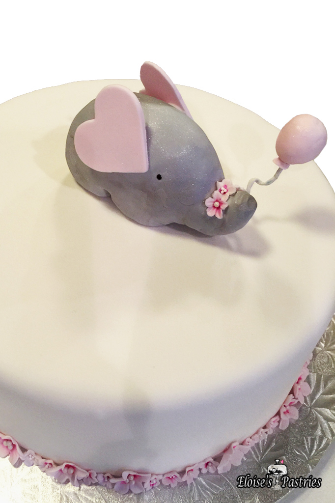 Baby Pink Elephant Baby Shower Cake