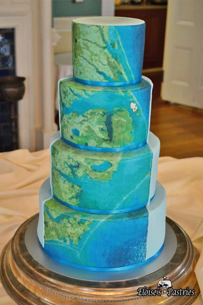 Map Image Wedding Cake