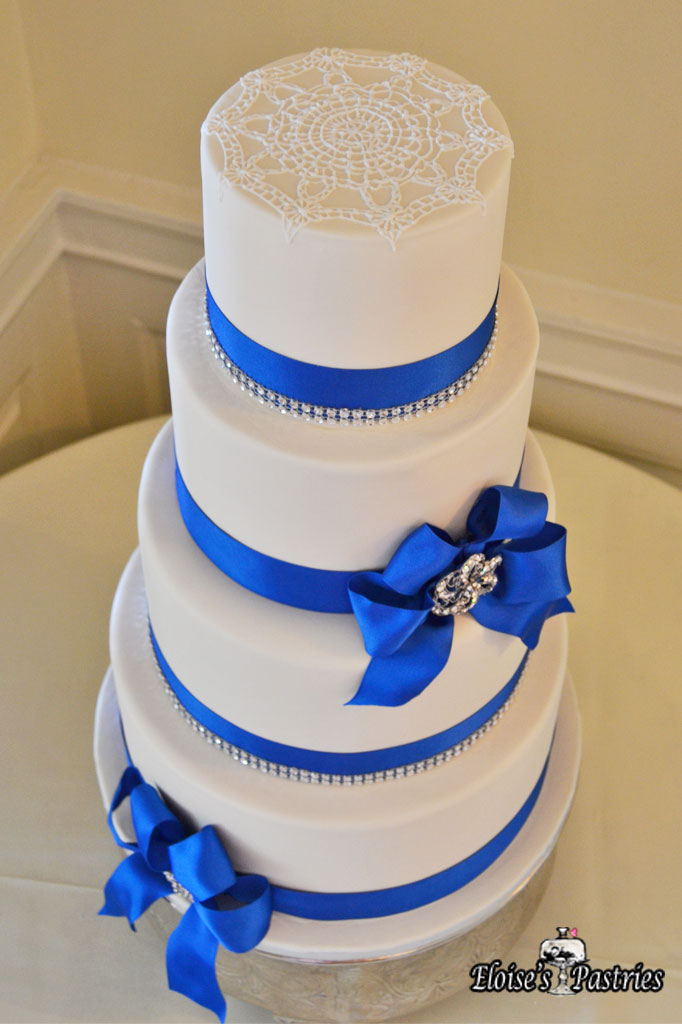 Royal Blue Ribboned White Cake