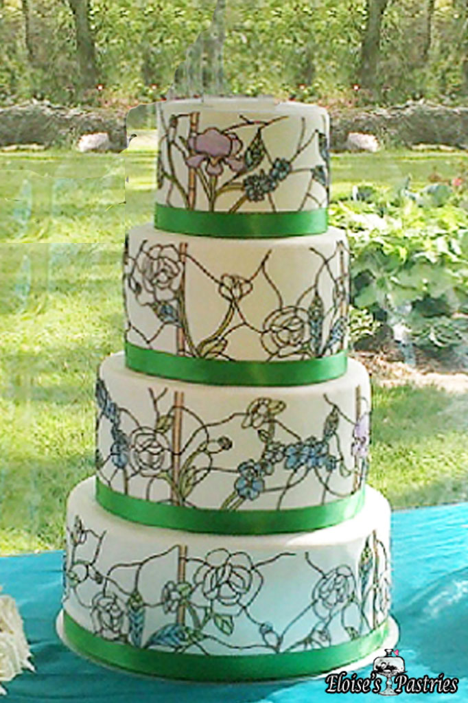 Floral Stained Glass Cake