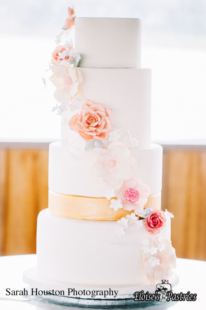 Simple Cascading Floral Cake