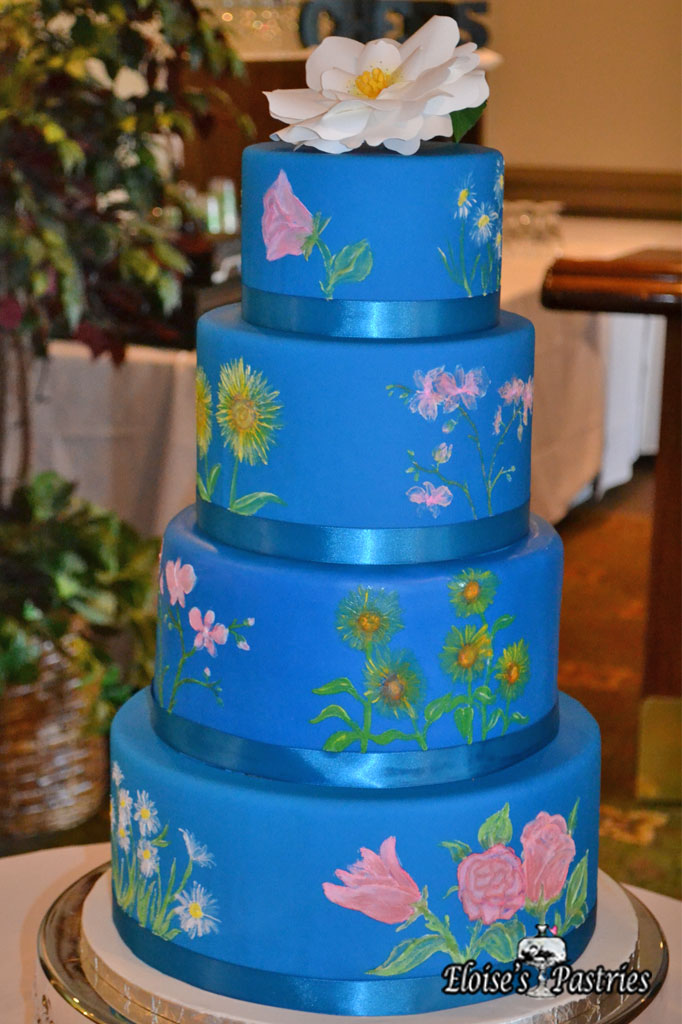 Fancy Blue Cake with Garden Flowers