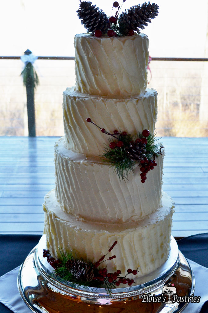 Rustic Pleated Wedding Cake