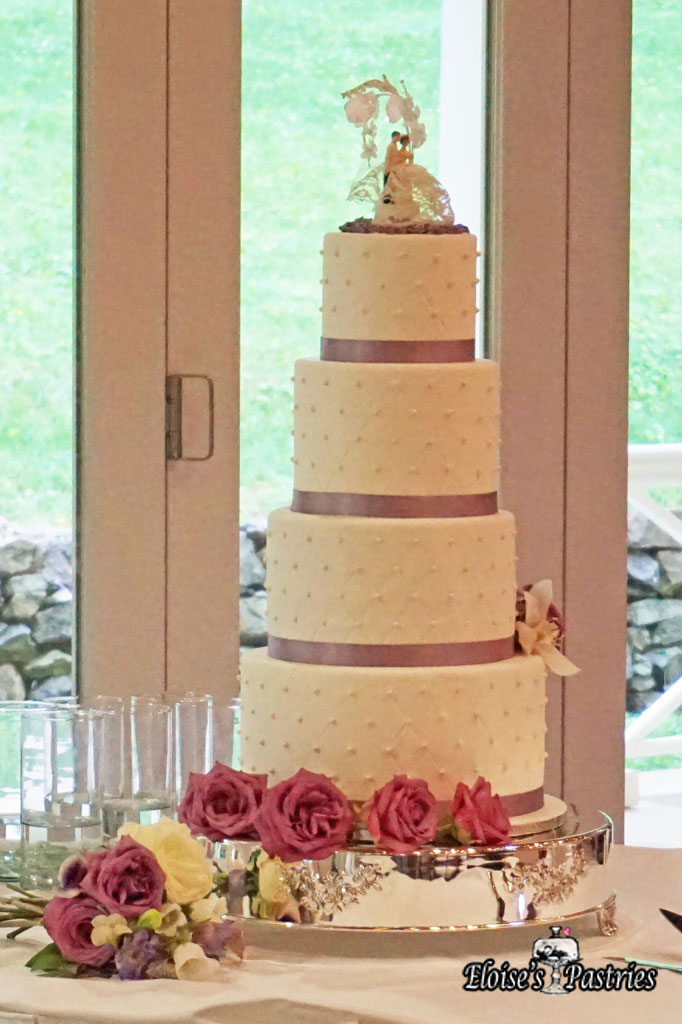 Lavender Ribboned Quilt Textured Wedding Cake