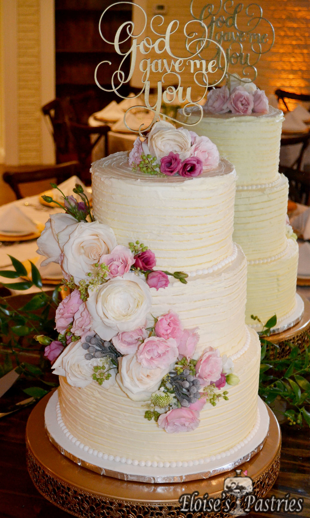Floral and Pearl Textured Wedding Cake