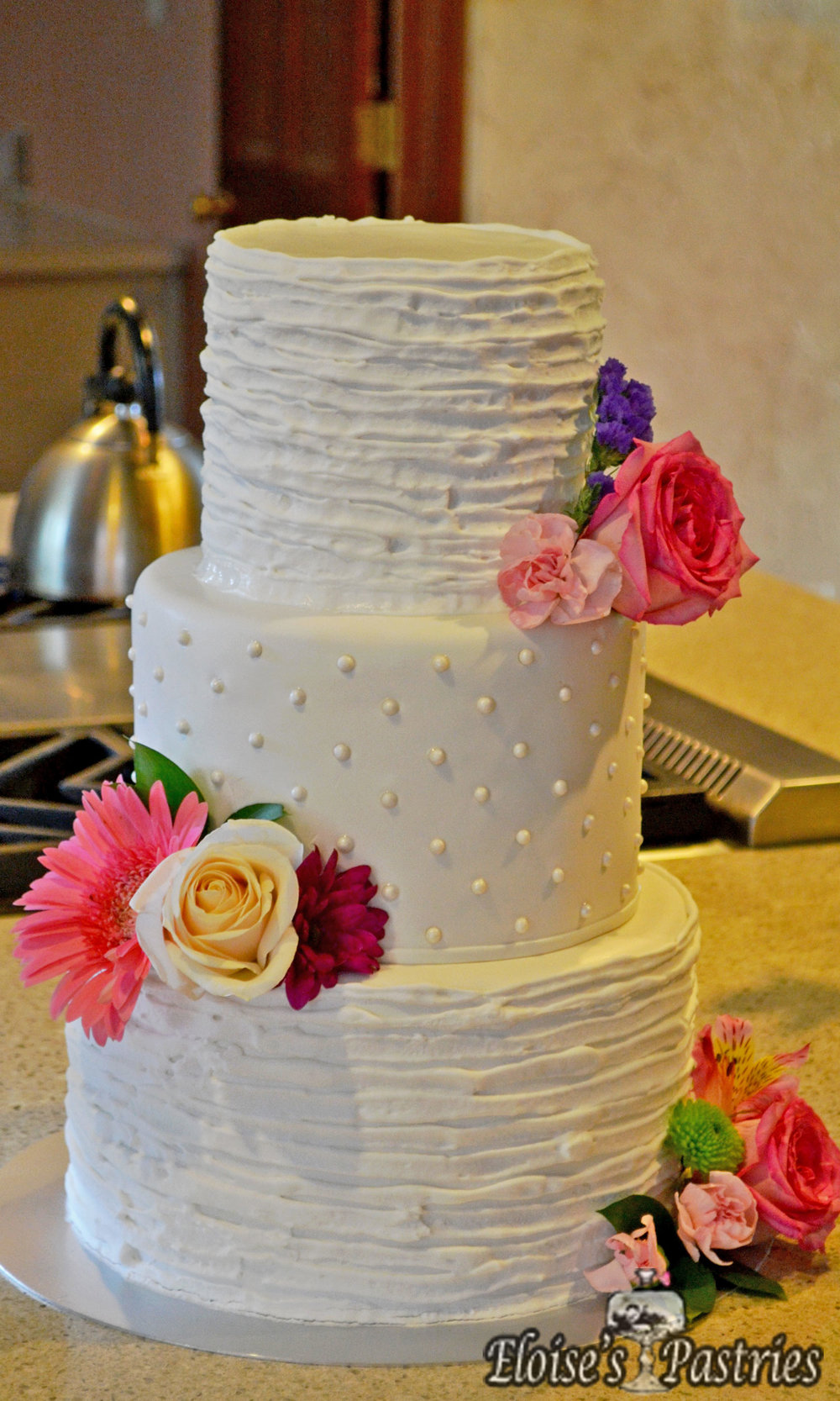 Simple Ruffle and Textured Wedding Cake