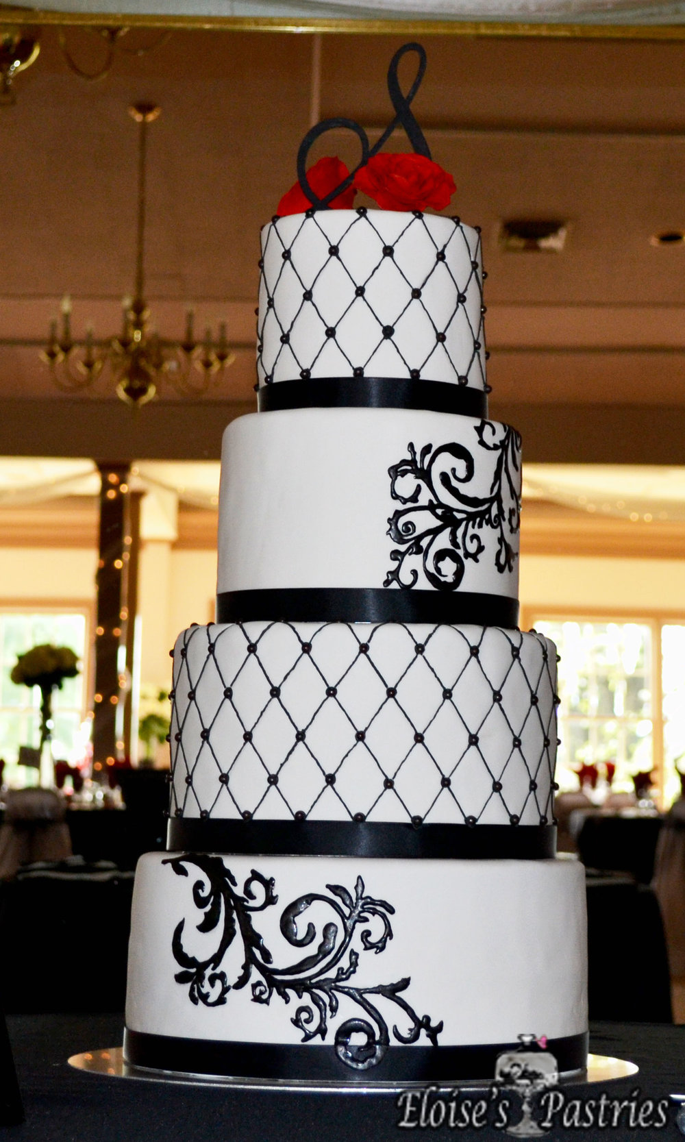 White & Black Intricate Design Wedding Cake