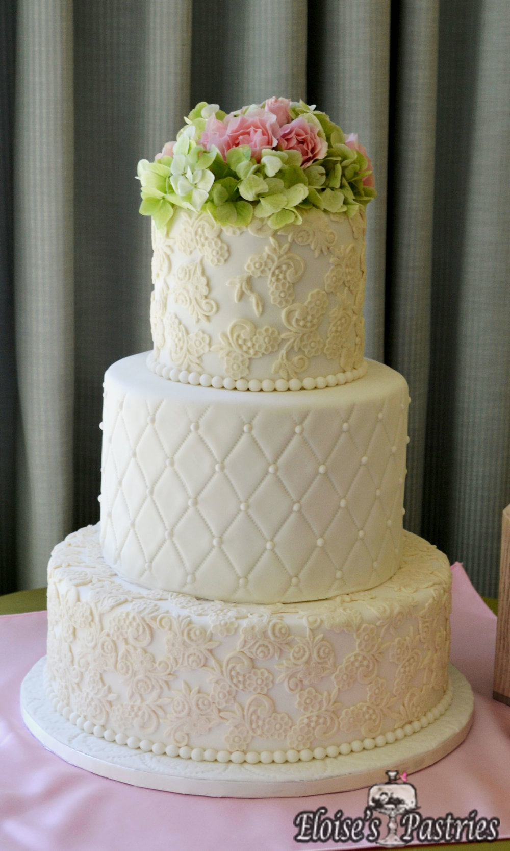 Intricate Design Quilt Textured Wedding Cake