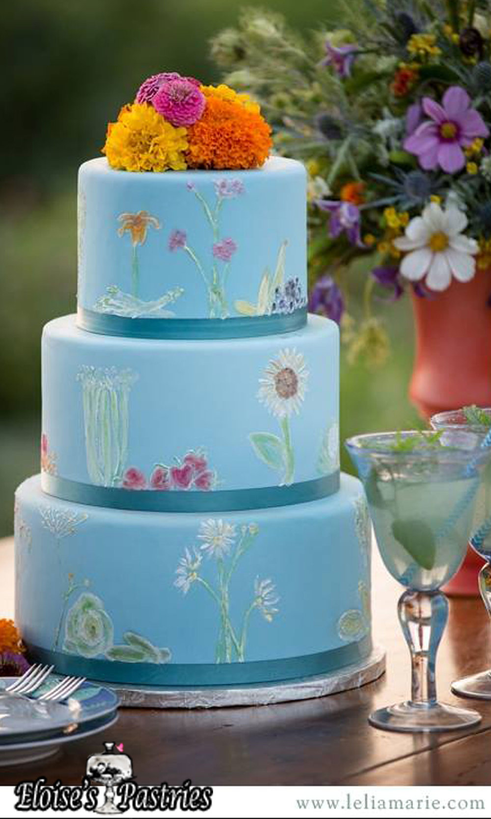 Blue Garden Themed Wedding Cake