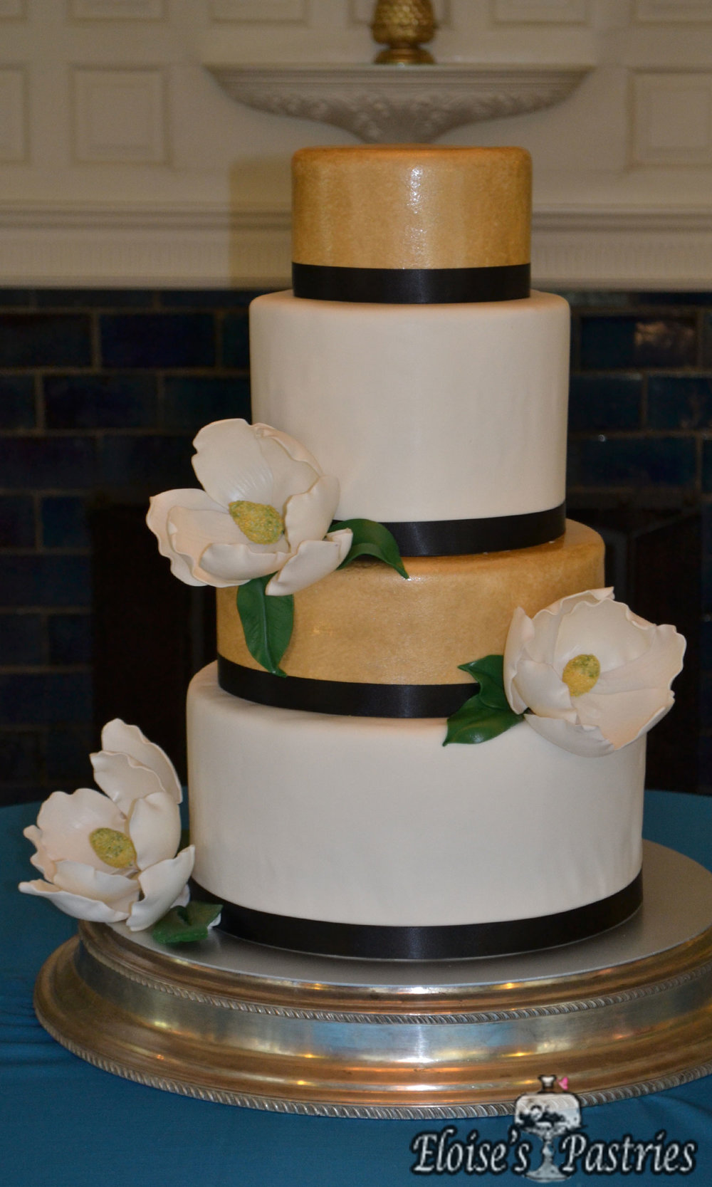 Chic Gold, White & Black Wedding Cake