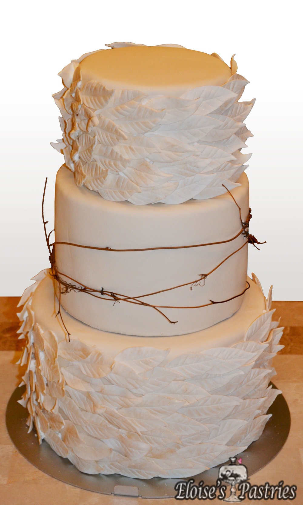 Elegant Leaf Textured Wedding Cake