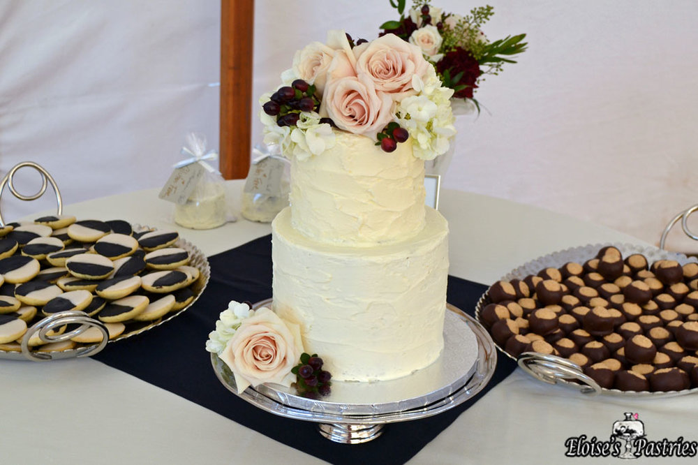 Intimate Wedding Cake with Dessert Bar