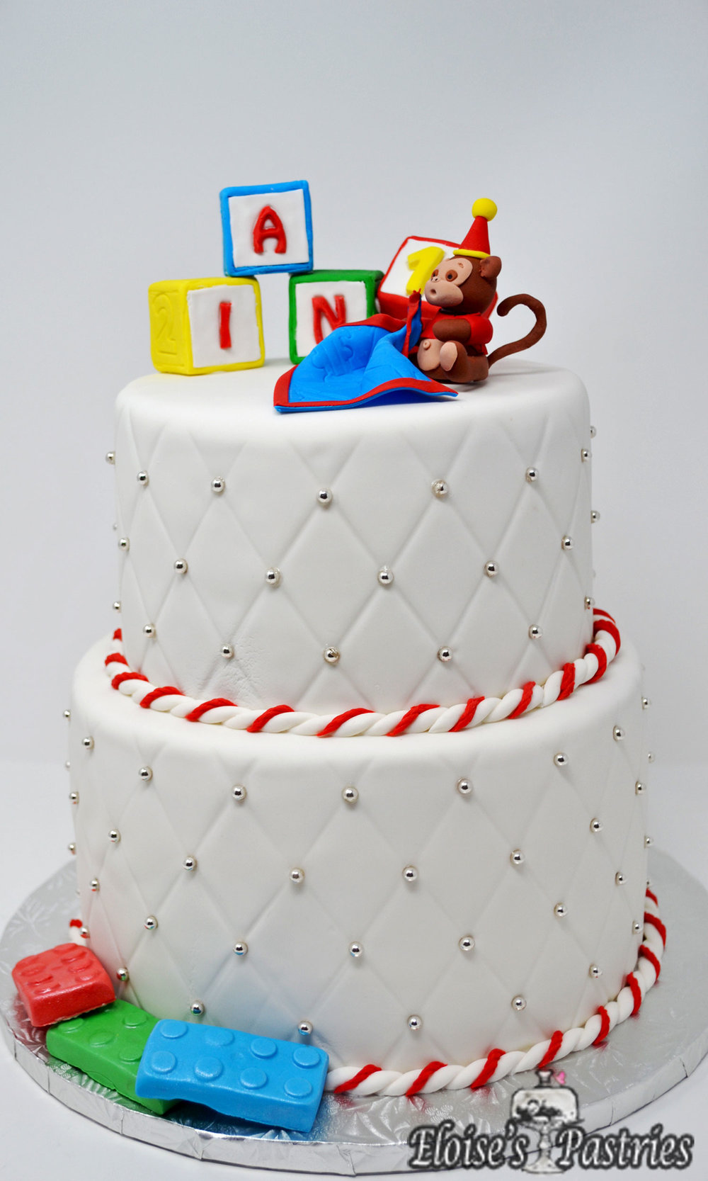 Sweet and Simple Monkey Fun Birthday Cake