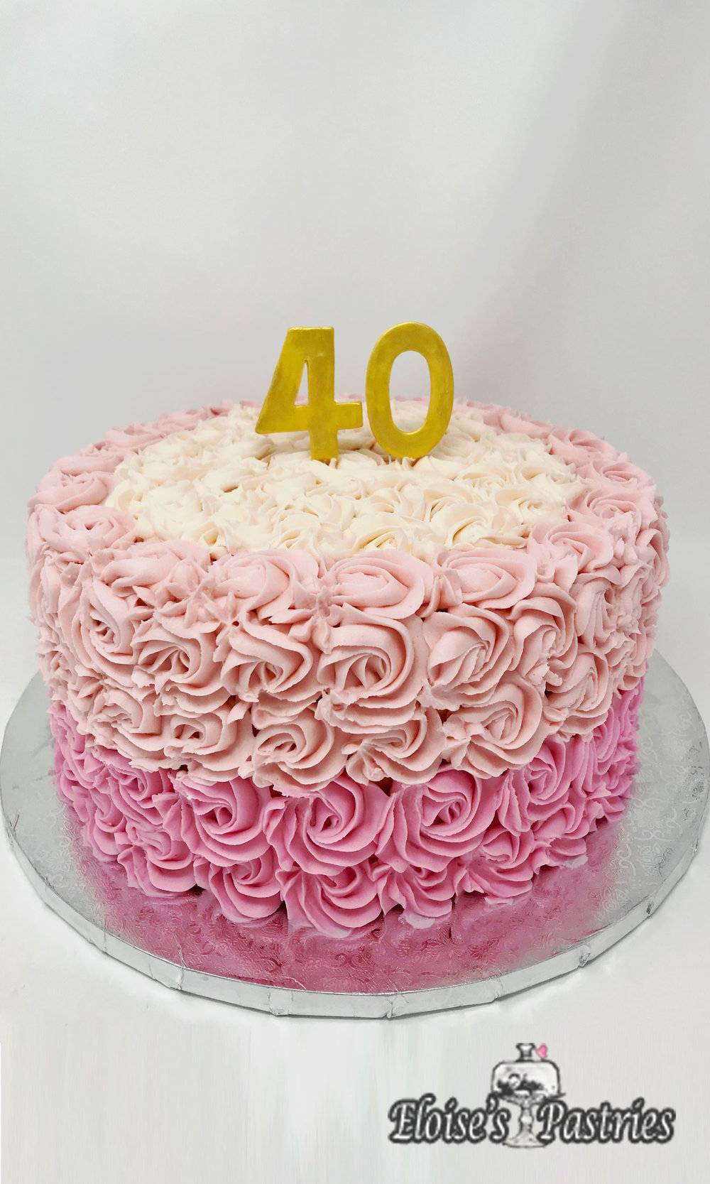 Ombre Rose Covered Birthday Cake