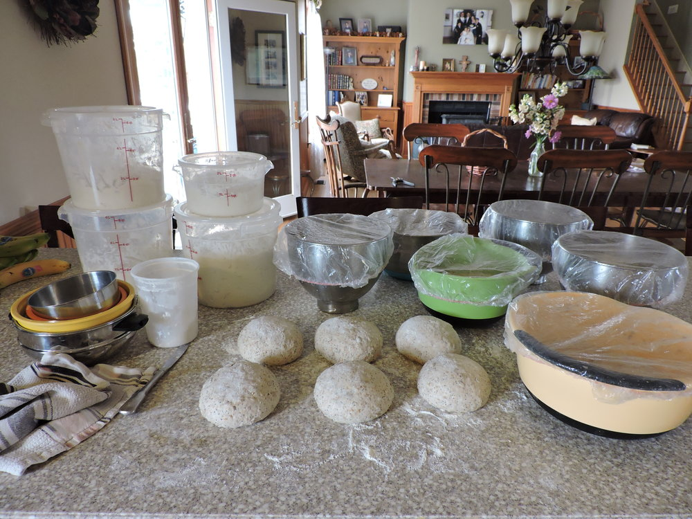Bread at various stages.