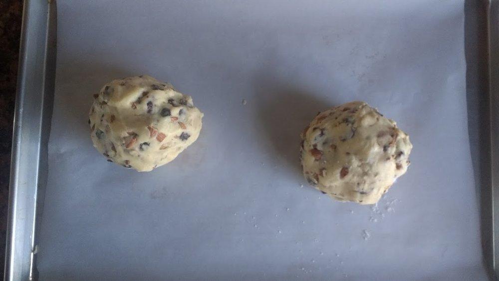 Separate dough into two balls