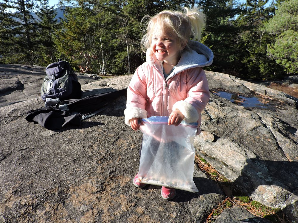 A very happy hiker with the bag of Gorp.