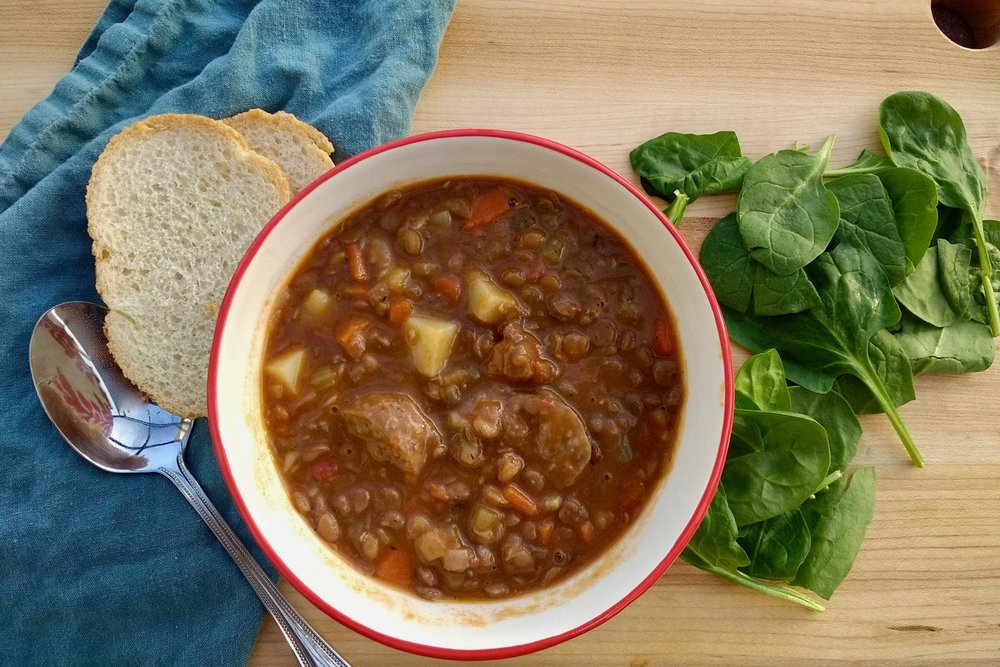 Beneath the Crust: Lentil Soup with Sausage, Potato and Greens