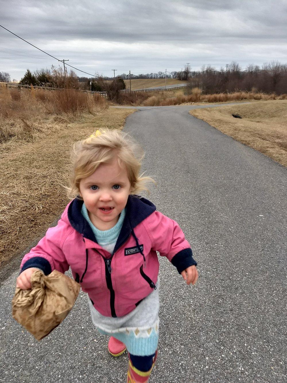 Edith on a Sunday walk.