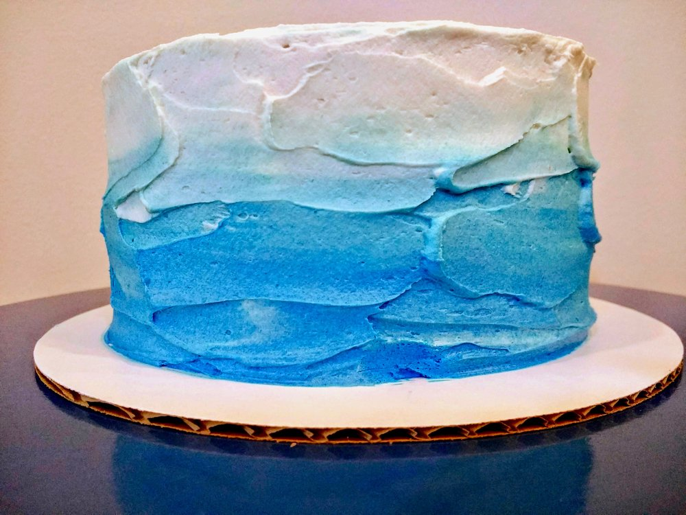 Beneath the Crust: strawberry-filled coconut cake with ombre frosting