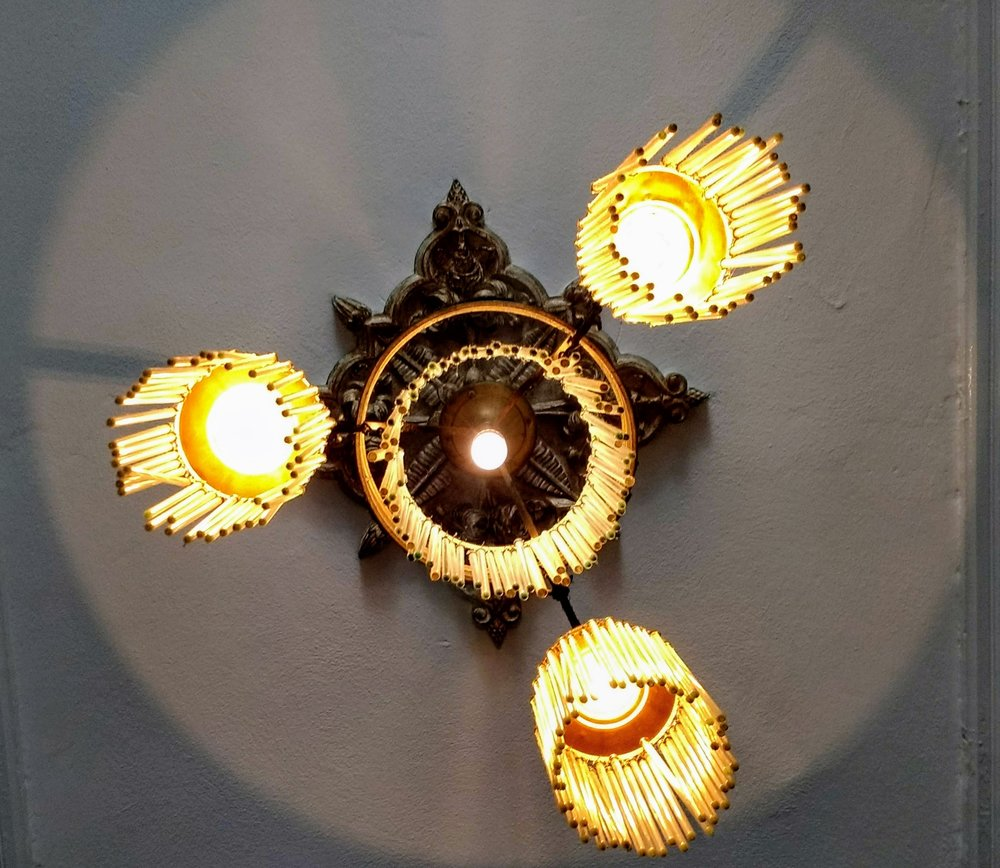 The chandeliers are each unique.