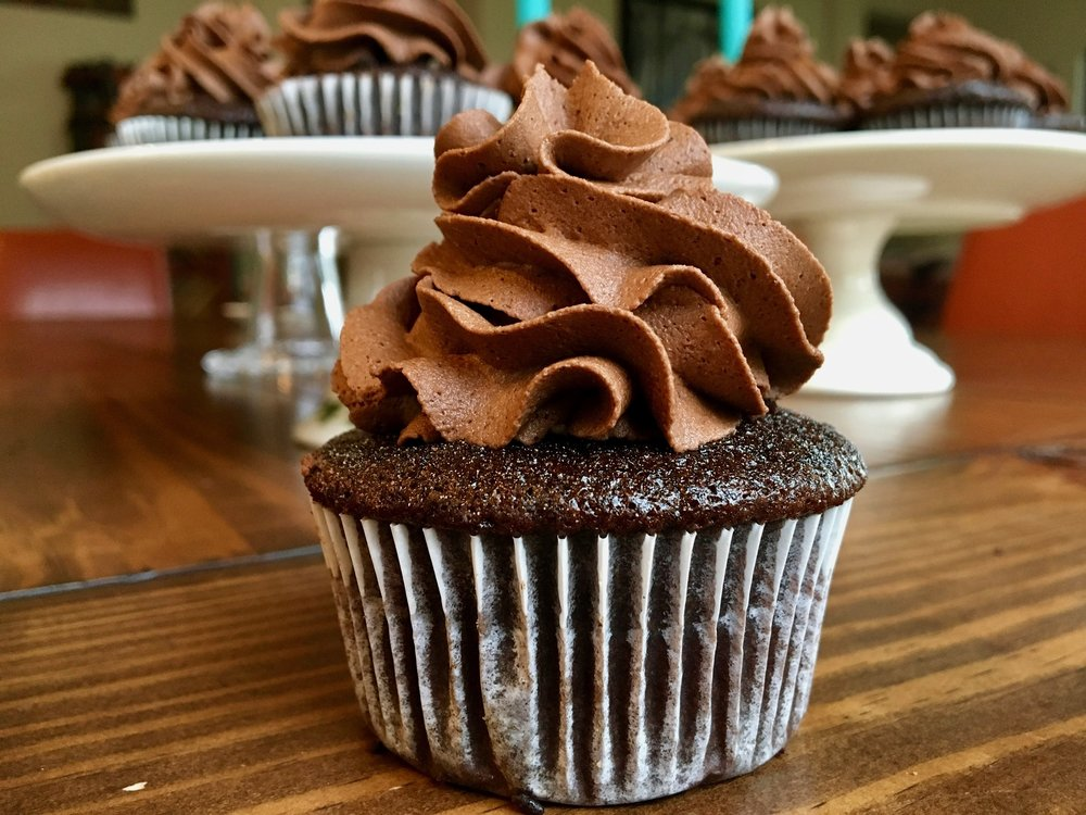 Beneath the Crust Reversed German Chocolate Cupcakes