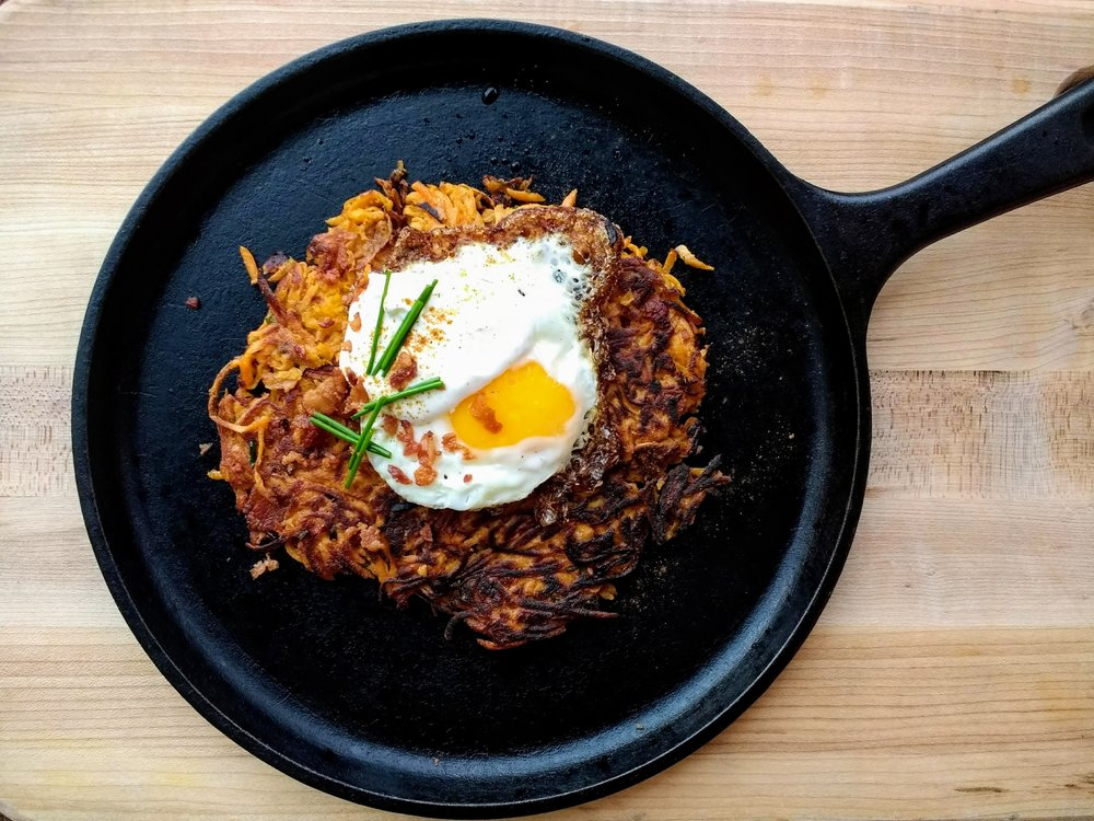 Beneath the Crust: Breakfast Week! Sweet Potato Hash with Bacon and Chives