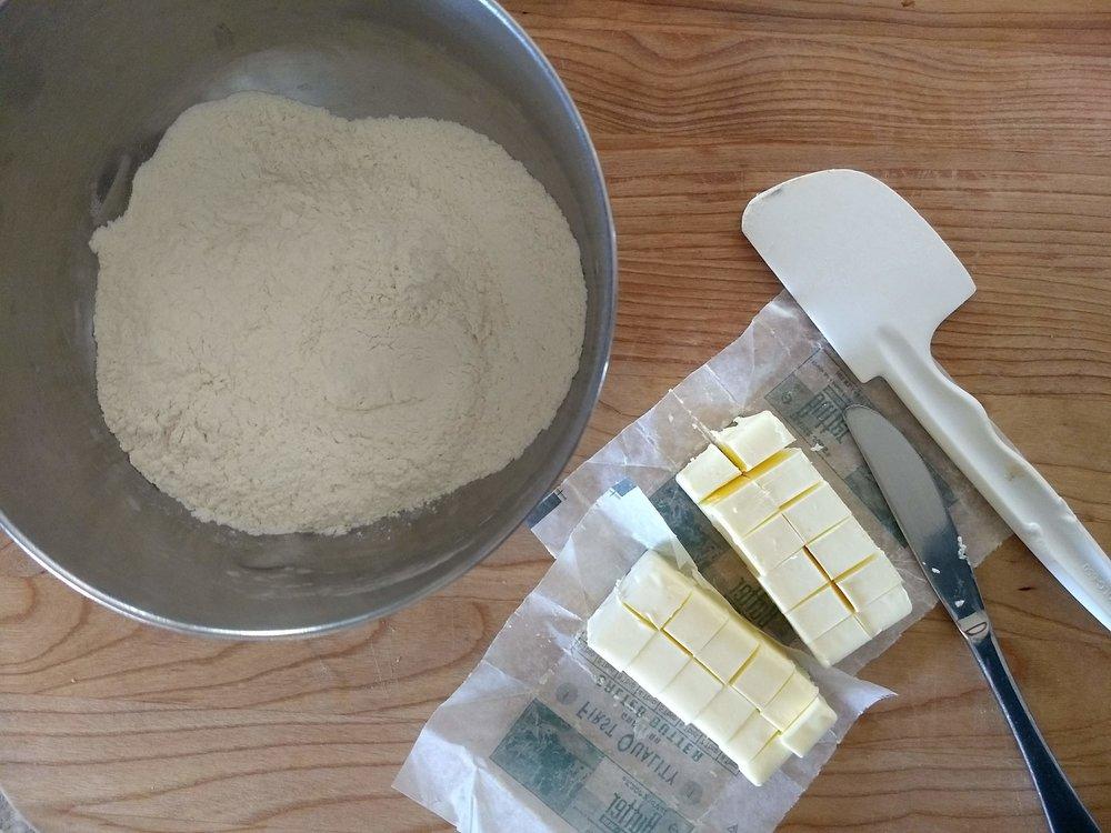 Flour, salt, & sugar and cubed butter