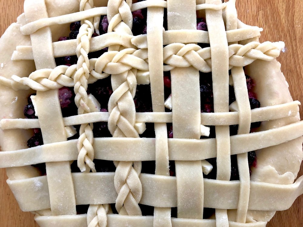 lay top crust/lattice over