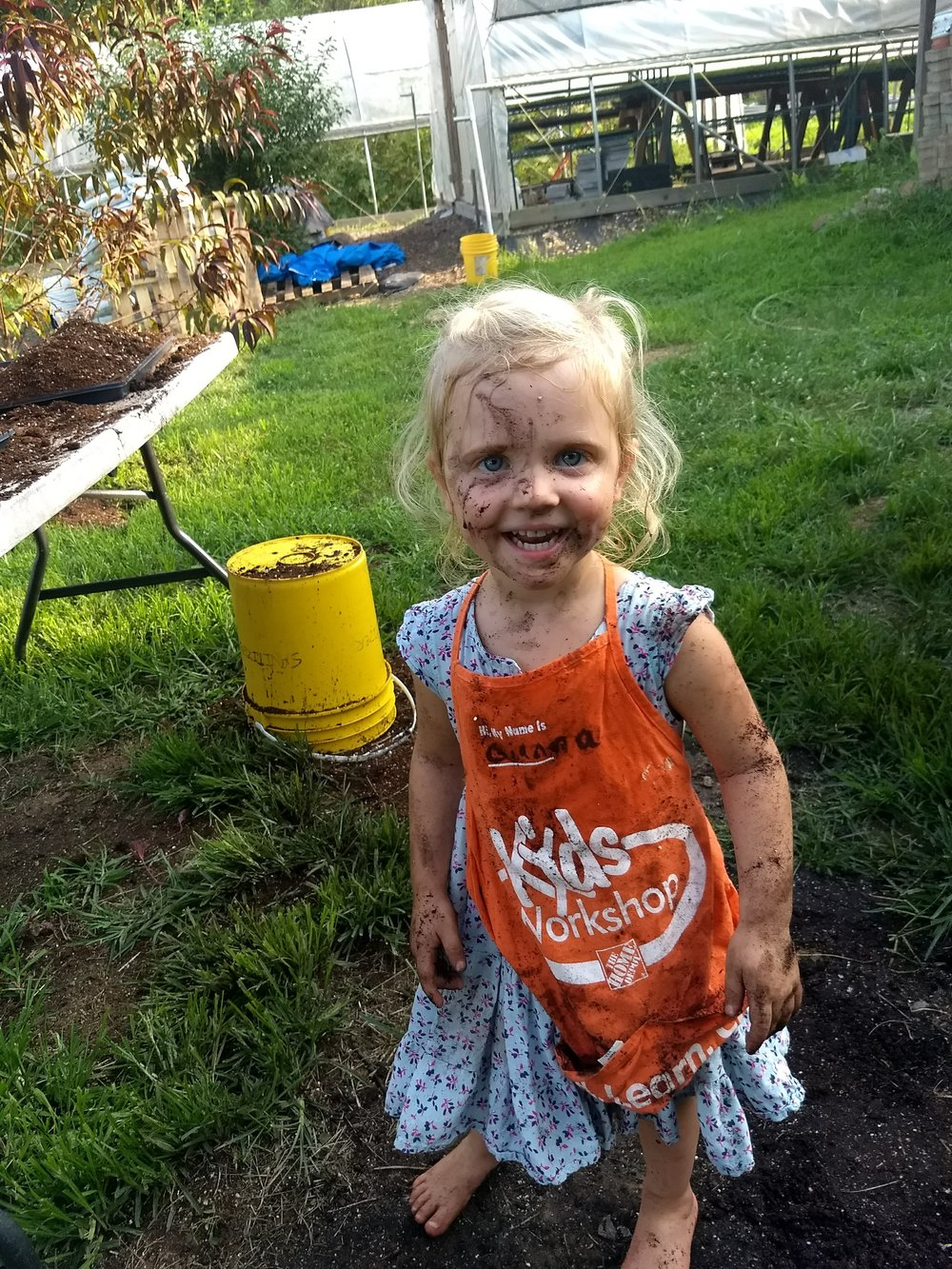 Edith loves to help with soil blocks!